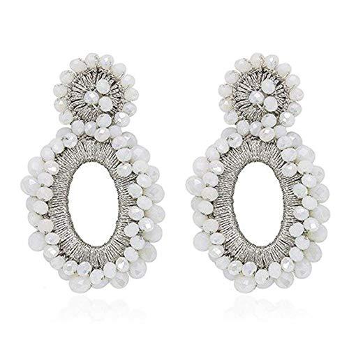 - Statement Drop Earrings - Bohemian Beaded Round Dangle Earrings Gift for Women (C White)
