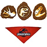 Jurassic World Red Logo Bandana For Dogs + Three Vinyl Fossil Toys Set | Triceratops, T-Rex, and Logo Fossil Toys For Dogs, 4-Piece Set