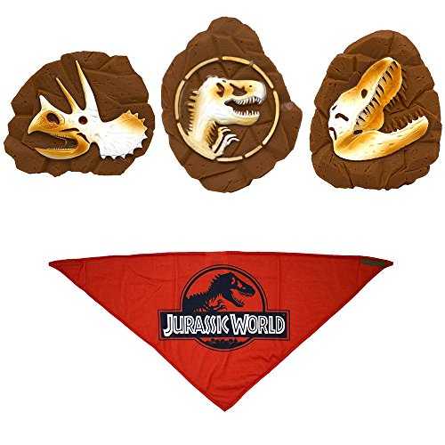 Jurassic World Red Logo Bandana For Dogs + Three Vinyl Fossil Toys Set | Triceratops, T-Rex, and Logo Fossil Toys For Dogs, 4-Piece - Bandana Logo Dog