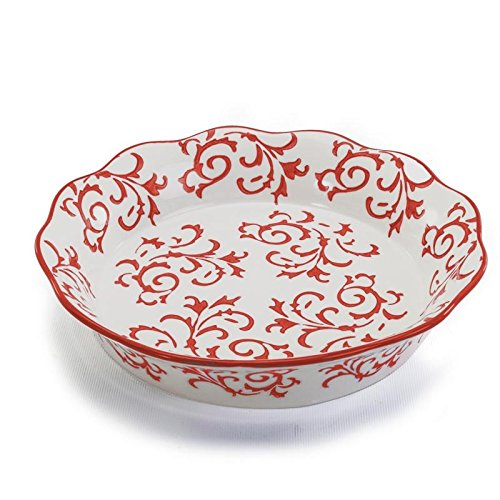 Bia Cordon Bleu Heritage Fluted Pie Dish with Red Swirls - Stoneware