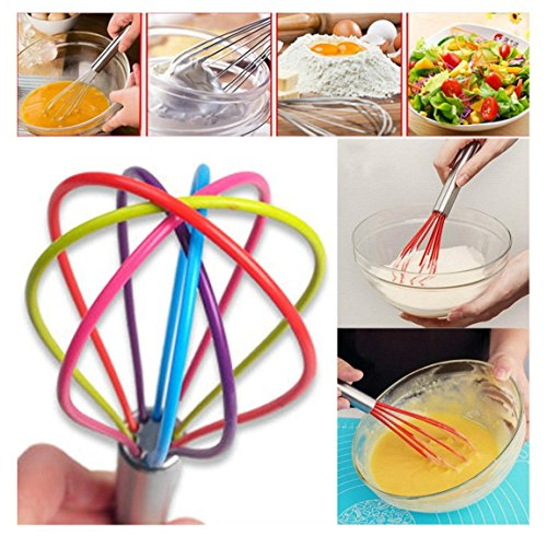 Rambling Small Silicone Whisk, Kitchen Premium Whisk With Heat Resistant Non-Stick Egg Dough Whisk Cook For Blending, Whisking, Beating & - Premium Whisk Heat With Silicone