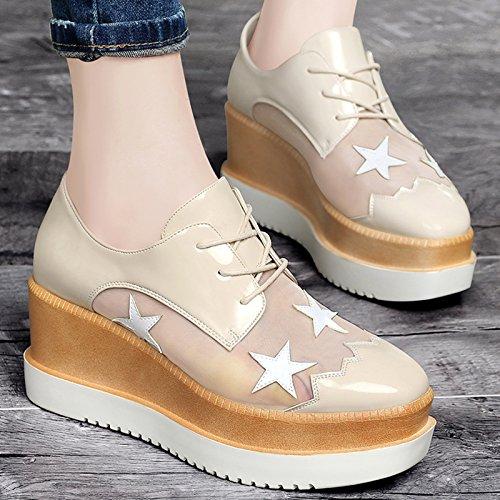 KHSKX-Zapatos De Plataforma Gruesa Estrella De Gasa Beige Ronda Zapatos Zapatos Zapatos De Mujer Todo El Partido. Beige