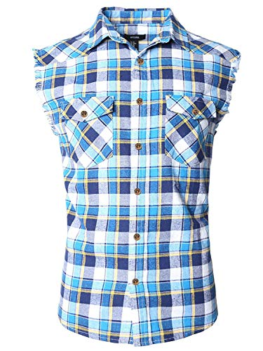 (NUTEXROL Men's Casual Flannel Plaid Shirt Sleeveless Cotton Plus Size Vest Blue&White&Yellown S)
