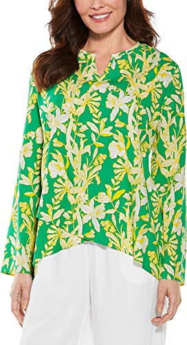 Coolibar UPF 50+ Women's Santa Barbara Tunic Top - Sun Protective (Small- Green Midsummer Floral) -