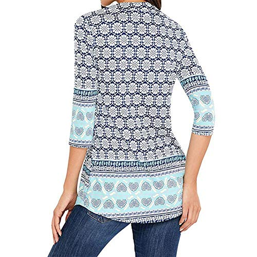 Quarter Women's Neck Three T Length Blue Print Shirt Sleeve Floral Blouse iBasteFR Fold Midi Round a1pqq