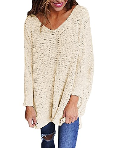 RooZooe Women's Oversized Knitted Sweater V Neck Blouse Loose Jumper Pullovers Khaki, XL