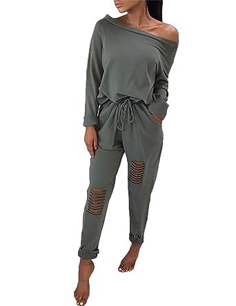 43b370ac45c610 Boutiquefeel Damen Casual Schulterfrei Drawstring Top Ripped Hose Jumpsuits  Grün S