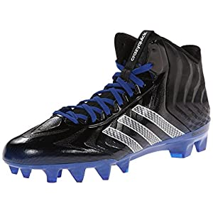 adidas Performance Men's Crazyquick Mid Football Cleat, Black/White/Royal, 9.5 M US