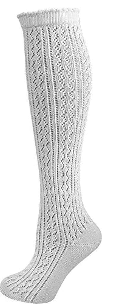 Socks4Fun Damen Trachtenstrümpfe Häkellock Weiß 3473