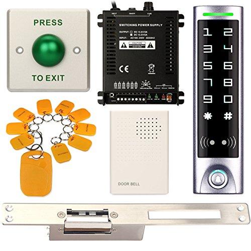 Access Control System, ZOTER Waterproof IP65 Keypad Reader RFID Card 125Khz Touch Panel + Electric Strike Door Lock Narrow Long Faceplate NO (Narrow Plate Locks)