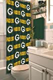 Green Bay Packers COMBO Shower Curtain, Matching Shower Curtain Rings & Set of (Four) Appliqué Bath Towels with Team Logo - Decorate your Bathroom & SAVE ON BUNDLING!