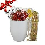Cottage Lane Hot Tea Mug Gift Set Featuring: Tazo Tea, Honey Spoon Stirrer, & a Biscoff Butter Cookie (Passion Herbal Tea, White Mug)