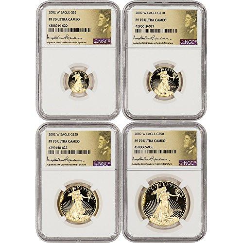 2002 W American Gold Eagle 4-pc Proof Set Saint Gaudens Label PF70