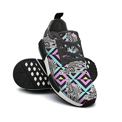 Abstract Hand Womens Fat Zebra Mesh Lightweight Designer FAAERD Fashion Shoes Painted Running Breathable Sneakers USEExB