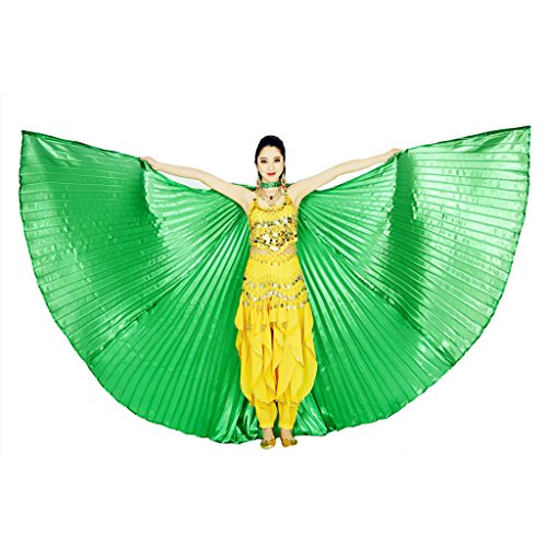MUNAFIE Belly Dance Isis Wings with Sticks for Adult Belly Dance Costume Angel Wings for Halloween Carnival Performance Green