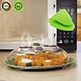 Microwave Splatter Cover Guard, Kitchen Magnetic Hover Microwave Plate Cover Microwave Food Cover Lid with Steam Vents 1 Pc Anti-Scald Silicone Glove Set, BPA Free. (11.8 inch)