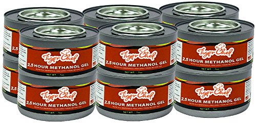 TigerChef TC-20440 Methanol Chafing Fuel Gel Cans, Burns 2.5 Hours, 7 oz Capacity (Pack of 12)