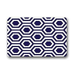 DDLY Navy Honeycomb Wallpaper Rubber Doormats 23.6 x 15.7inch Non-woven Fabric Non Slip Door Mats