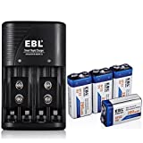 EBL 9V 280mAh Ni-MH Rechargeable Batteries (4 Pack) with EBL Battery Charger for AA, AAA, 9V Ni-MH Ni-CD Rechargeable Batteries (3 in 1)