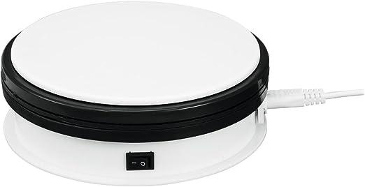 Showking Set Aus 2 X Drehteller Ø15cm Max Belastung 5kg Weiß Elektrische Drehplatte Rotierender Teller Für Torten Kuchen Monitore Oder Fernseher Küche Haushalt