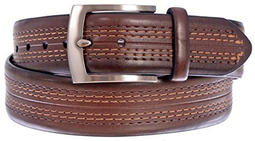 PGA TOUR Men's Logo Stamped Leather Belt with Intricate Stitching Design (Brown, 42)