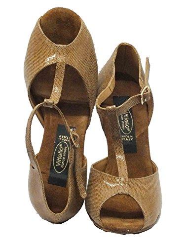 Vitiello Dance Shoes 385 satinato cuoio forma Sandal/90 - Zapatillas de danza de Piel para mujer Marrón marrón Satinato Cuoio