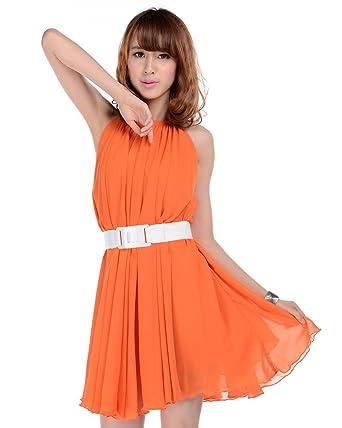 Medeshe Women s Orange Summer Chiffon Flowy Sundress Holiday Beach Maxi  Dress (Length  90cm) 39ac5e838