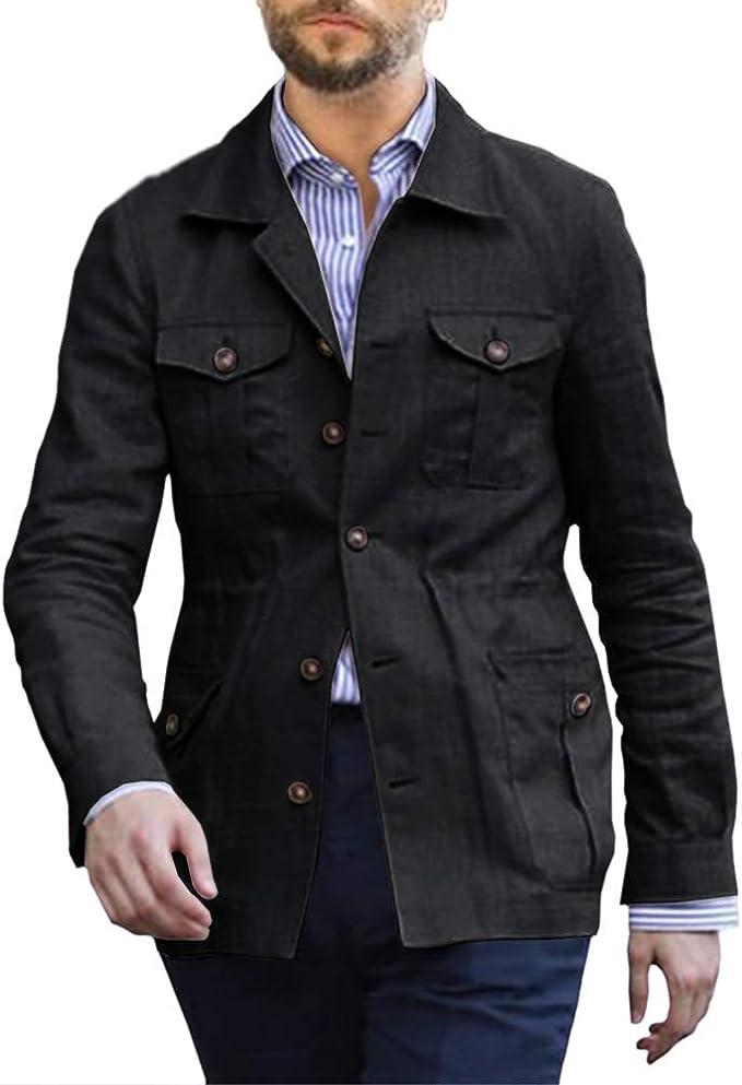 Mens Linen Lightweight Safari Jacket Casual Long Sleeve Multi-Pockets Travel Solid Blazer Jacket Coats