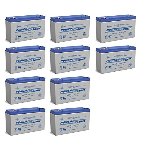 Powersonic PS-6100 6V 12AH NPX-50 SLA10-6 BP10-6 GP6120 ES12-6 Battery - 10 Pack by Powersonic