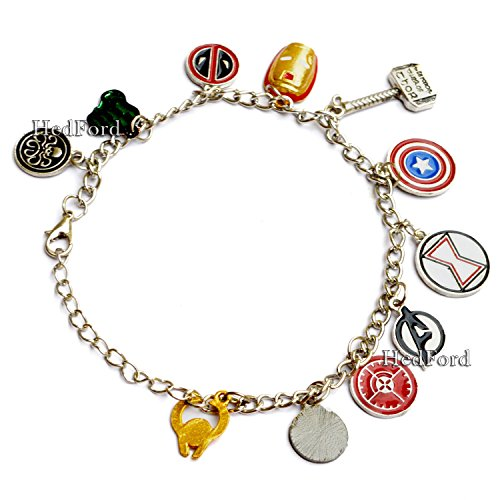 MRVL Superheroes 11 Pcs Of Stylish Charm Bracelet (Bracelet) (Captian America Costume)