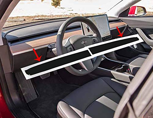 Topfit Car Interior Dashboard Wood Wrap Stickers for Model 3(Matte Black) (Dashboard Wood)