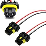 iJDMTOY (2) 900-Series 9005 9006 Female Adapter Wiring Harness Sockets Wire Compatible With Headlights Fog Lights