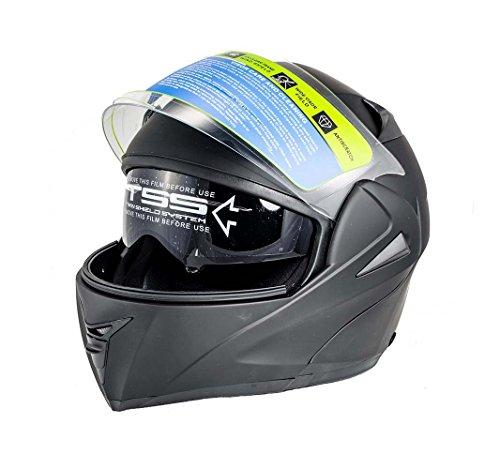 Full Open Face Modular Flip Up Dual Visor DOT Motorcycle Street Helmet (XL, Matte Black) - Max Full Face Modular Helmet