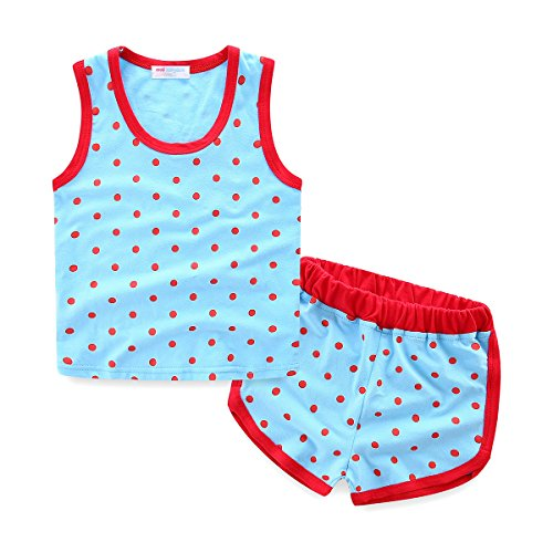Boys Outfits Summer Tank Top and Short Polka Dot 2T Sky Blue ()