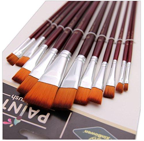 12 Pcs Paint Brushes Pack with Canvas Bag For Oil Acrylic Watercolor Gouache Painting , Artist's Premium Paint Brush Set