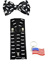 "Suspender & Bowtie ""Black Mustache"" Y-back Clip on Adjustable Free USA Keychain"