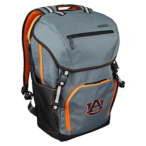 Altego NCAA Auburn Tigers Laptop Backpack 17 Inch, Gray with Orange Trim, Embroidered Logo, Laptop Bag for School, College, Commute, or World Travel
