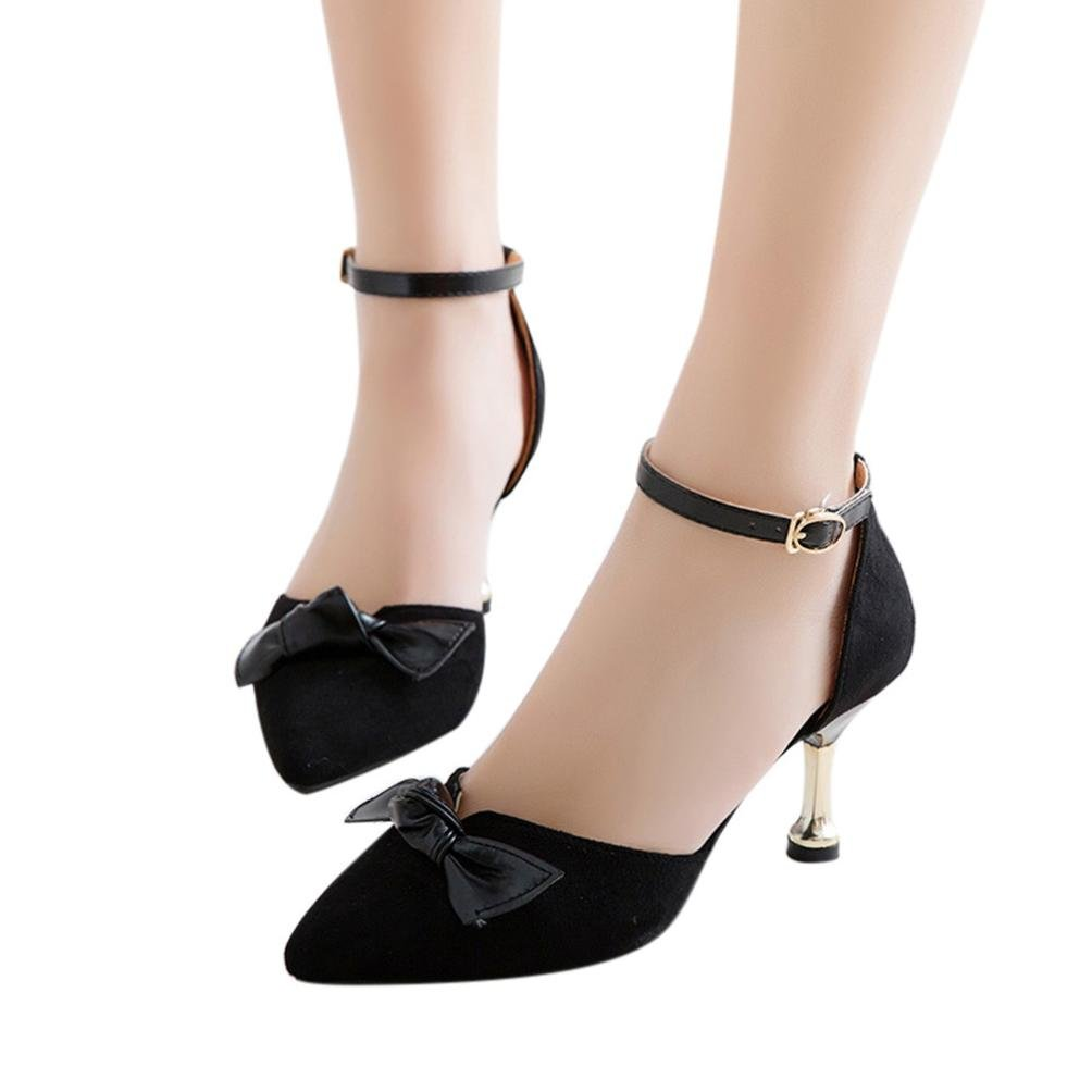 Sunbona Women Sexy Pointed Toe Bow Ankle Buckle High Heels Sandals Casual Wedding Party Dress Shoes (US:6.5(RU/EU/CN37), Black)