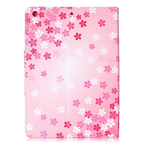 iPad Air Case, iPad Air Case 1st Generation, Dteck(TM) Slim Fit Smart Leather Case [Illustration Painting Design] Flip Stand Case Cover for iPad Air with Auto Sleep/Wake Function-Pink Flower by Dteck (Image #3)