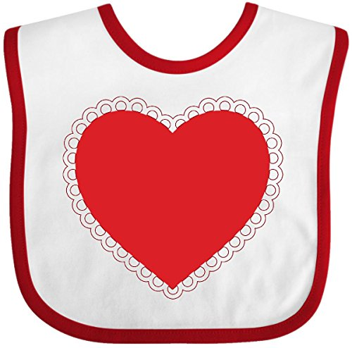 Little Infant Bib Valentine - Inktastic - Valentine's Day Red Lace Heart Outfit Baby Bib White/Red 287bd