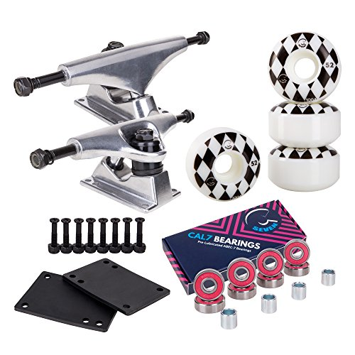 Cal 7 Skateboard Package | Complete Combo Set with 139 Millimeter / 5.25 Inch Aluminum Trucks, 52mm 99A Wheels & Bearings (Silver Truck + White Speedway Wheels)
