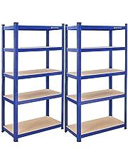 SONGMICS Magazijnrek, set van 2, zware lasten, kelderrek, 180 x 90 x 45 cm, tot 1325 kg belastbaar, 5 verstelbare planken, metalen rek, werkplaatsrek, kelder, garage, blauw GLR90Q