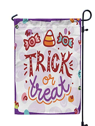 Shorping Decorative Outdoor Garden Flag, 12x18Inch Cute Halloween Party with Lettering Trick Treat Drawn Art in Cartoon for Holiday and Seasonal Double-Sided Printing Yards Flags]()