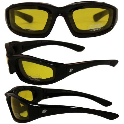 Glass Lens Quad (Birdz Eyewear Oriole Padded Motorcycle Glasses (Black Frame/Yellow Lens))