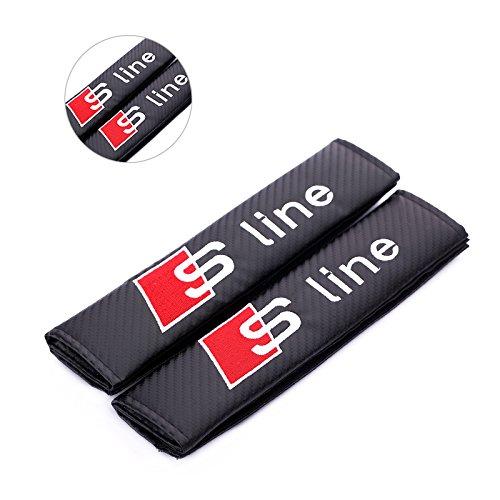 Sline Firemans Pair New Carbon Fiber Seat Belt Cover Shoulder Pad Cushion for A4L A3 A6L Q3 Q5 A1 A6 A7 A8L Q7 S3 S5 RS3 RS6 RS7 tts tt rs All Model Black