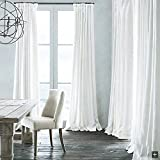 KoTing White Natural Linen Lined Curtain,1 Panel,50 by 126 Inches,Customizable Extra Length