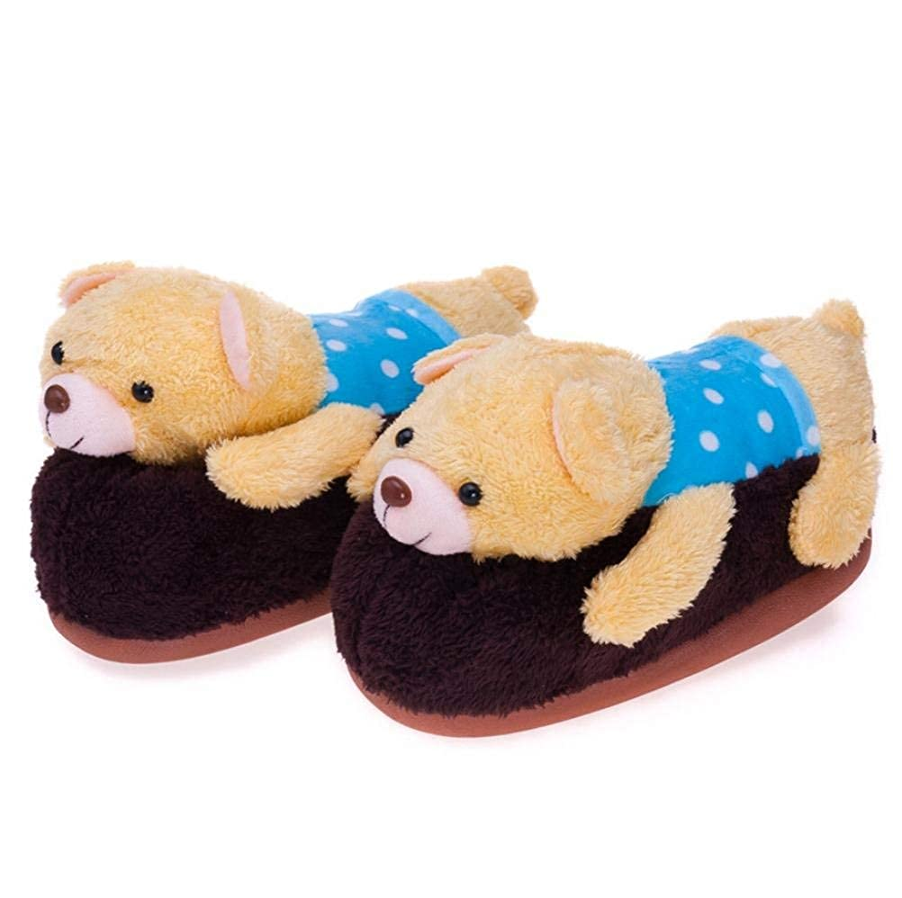 3 JaHGDU Ladies Casual Slippers Papa Bear Cartoon Fashion Indoor Cotton Keep Warm Sandals for Women Pink Brown Slippers