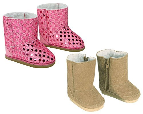 2 Pair One Set - 18 Inch Doll Boots 2 Pair Set, 1 Suede Boot and 1 Sequin Boot Fits American Girl Dolls & More! Doll Shoe Set of 1 Pair Pink Sequin, 1 Pair Tan