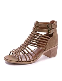 TOETOS Women's Ivy Fashion Ankle Strap Block Heeled Sandals