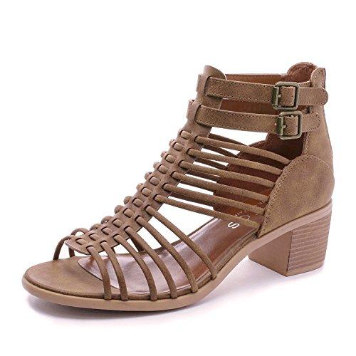 TOETOS Women's Ivy_02 Tan Fashion Block Heeled Sandals Size 6 B(M) US